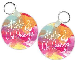 Alpha Chi Omega Watercolor Script Keychain