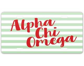 Alpha Chi Omega Striped License Plate