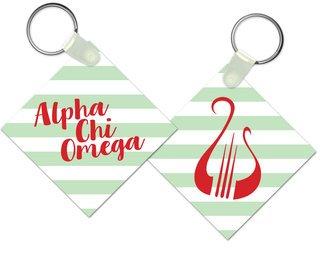 Alpha Chi Omega Striped Mascot Keychain