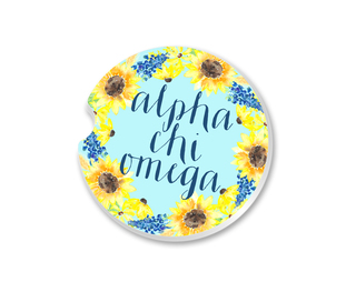 Alpha Chi Omega Sunflower Car Coaster