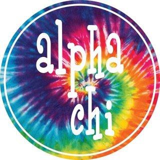 Alpha Chi Omega Tie-Dye Circle Sticker