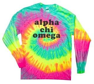 Alpha Chi Omega Tie-Dye Minty Rainbow Long-Sleeve T-Shirt