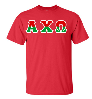 Alpha Chi Omega Two Tone Greek Lettered T-Shirt