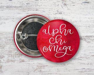 Alpha Chi Omega Watercolor Script Button