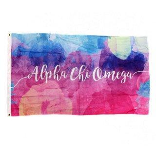 Alpha Chi Omega Watercolor Sorority Flag