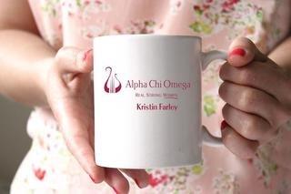 Alpha Chi Omega White Mascot Coffee Mug