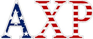 "Alpha Chi Rho American Flag Greek Letter Sticker - 2.5"" Tall"