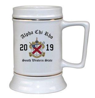 Alpha Chi Rho Ceramic Crest & Year Ceramic Stein Tankard - 28 ozs!