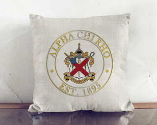 Alpha Chi Rho Crest Linen Pillow