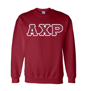 Alpha Chi Rho Fraternity Crest - Shield Twill Letter Crewneck Sweatshirt