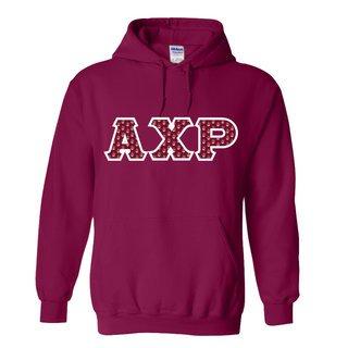 Alpha Chi Rho Fraternity Crest - Shield Twill Letter Hooded Sweatshirt