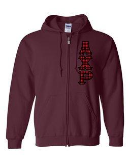 """Alpha Chi Rho Heavy Full-Zip Hooded Sweatshirt - 3"""" Letters!"""