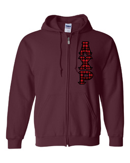 "Alpha Chi Rho Heavy Full-Zip Hooded Sweatshirt - 3"" Letters!"