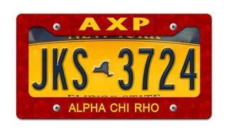 Alpha Chi Rho License Plate Frame