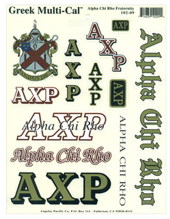 Alpha Chi Rho Multi Greek Decal Sticker Sheet