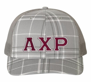 Alpha Chi Rho Plaid Snapback Trucker Hat - CLOSEOUT