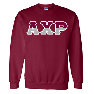 Alpha Chi Rho Two Tone Greek Lettered Crewneck Sweatshirt