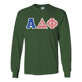 Alpha Delta Phi Greek Letter American Flag long sleeve tee