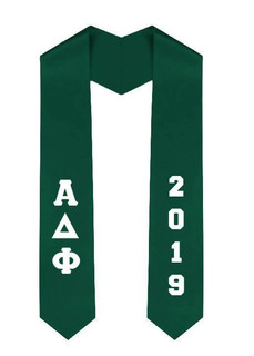 Alpha Delta Phi Greek Lettered Graduation Sash Stole With Year - Best Value