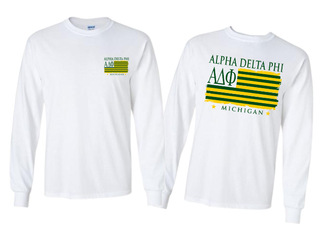 Alpha Delta Phi Stripes Long Sleeve T-shirt - Comfort Colors
