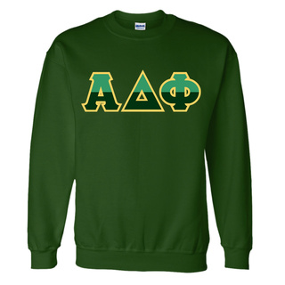 Alpha Delta Phi Two Tone Greek Lettered Crewneck Sweatshirt