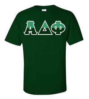 Alpha Delta Phi Two Tone Greek Lettered T-Shirt