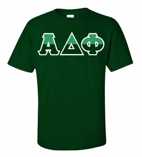 Alpha Delta Phi Two Tone Greek Lettered T-Shirt