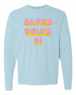 Alpha Delta Pi 3Delightful Long Sleeve T-Shirt - Comfort Colors