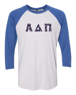 Alpha Delta Pi Unisex Tri-Blend Three-Quarter Sleeve Baseball Raglan Tee
