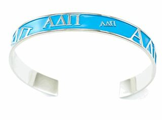Alpha Delta Pi bangle with raised letters and light blue enamel