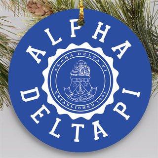 Alpha Delta Pi Round Christmas Shield Ornament