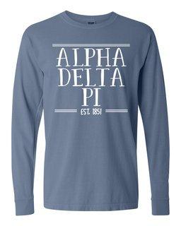 Alpha Delta Pi Comfort Colors Custom Long Sleeve T-Shirt