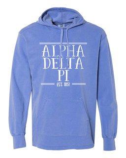 Alpha Delta Pi Comfort Colors Terry Scuba Neck Custom Hooded Pullover