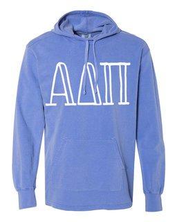Alpha Delta Pi Comfort Colors - Terry Scuba Neck Greek Hooded Pullover
