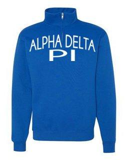 Alpha Delta Pi Over Zipper Quarter Zipper Sweatshirt