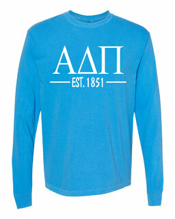 Alpha Delta Pi Custom Greek Lettered Long Sleeve T-Shirt - Comfort Colors