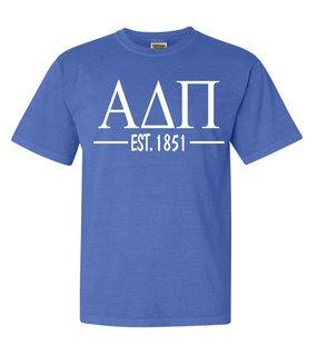 Alpha Delta Pi Custom Greek Lettered Short Sleeve T-Shirt - Comfort Colors