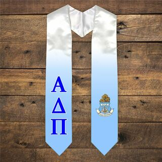 Alpha Delta Pi Extra Fancy Simple Greek Graduation Stole W Crest