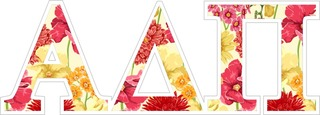"Alpha Delta Pi Floral Greek Letter Sticker - 2.5"" Tall"