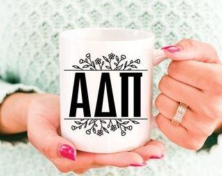 Alpha Delta Pi Floral Letters Mug