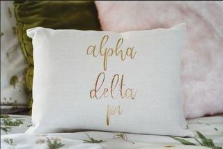Alpha Delta Pi Gold Imprint Throw Pillow
