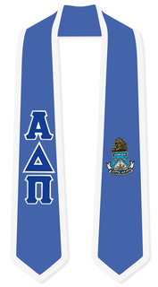 Alpha Delta Pi Greek 2 Tone Lettered Graduation Sash Stole