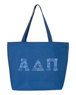 Alpha Delta Pi Greek Letter Zipper Tote