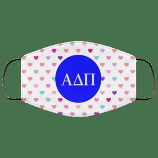 Alpha Delta Pi Hearts Face Mask