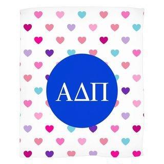 Alpha Delta Pi Hearts Fleece Blanket