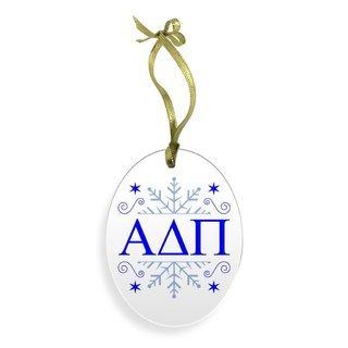 Alpha Delta Pi Holiday Color Snowflake Christmas Ornament