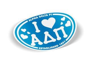 Alpha Delta Pi I Love Sorority Sticker - Oval