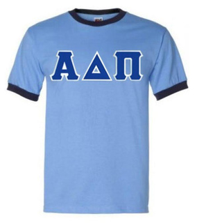 DISCOUNT-Alpha Delta Pi Lettered Ringer Shirt