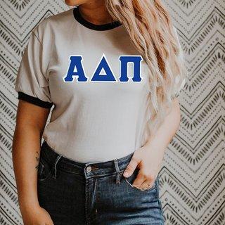DISCOUNT-Alpha Delta Pi Lettered Ringer Shirt