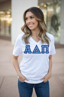 DISCOUNT-Alpha Delta Pi Lettered V-Neck Tee